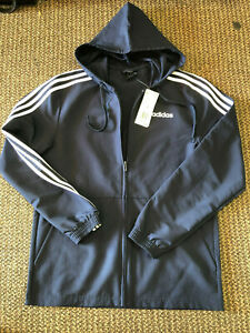 Details about Men's adidas Essential Striped Windbreaker Size Small Lighweight Jacket Navy