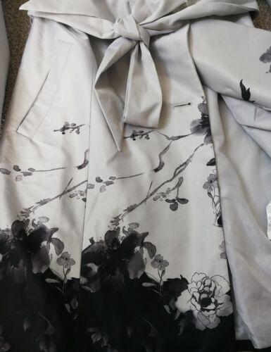 Uk 10 trenchcoat 38 bloemenprint maat zwart grijs Eu Mohito Collection dames qxwXZZzS