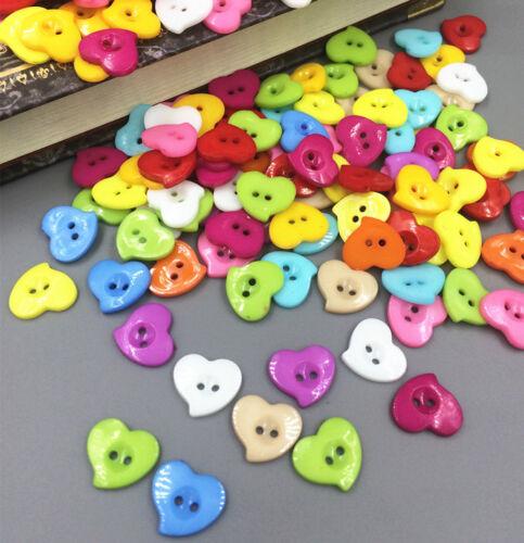 À faire soi-même 200Pcs Mixed Heart Resin Button Fit Sewing et Scrapbooking Artisanat 13 mm