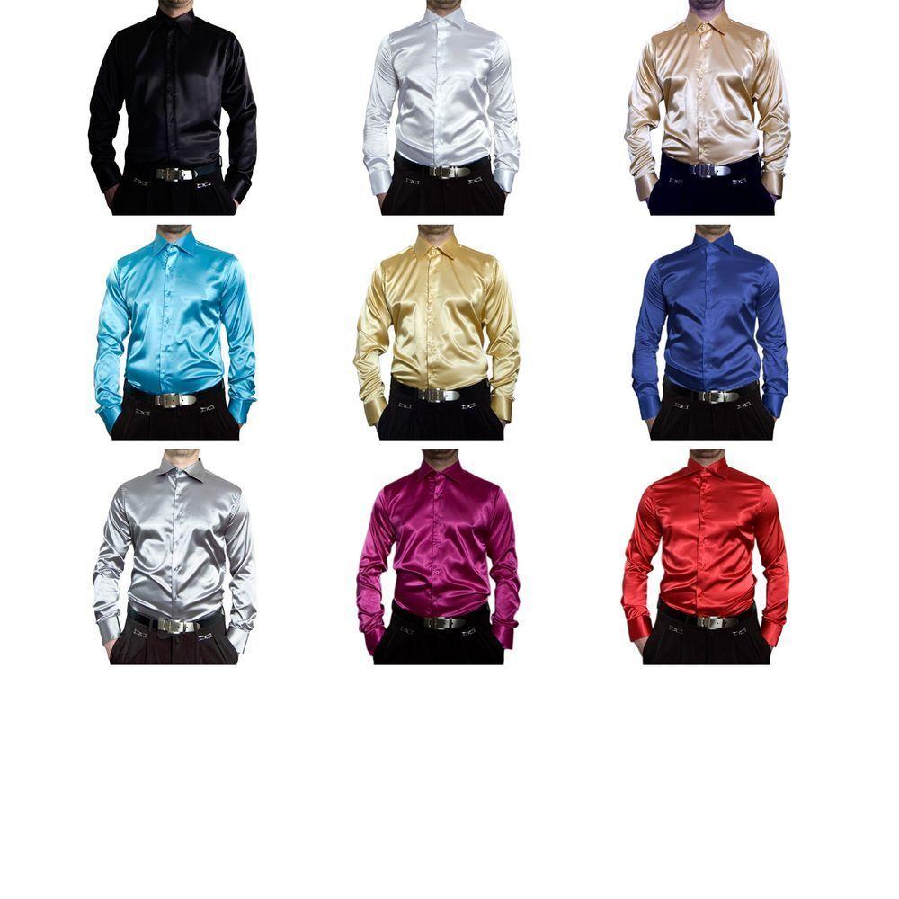 Designer Men's Shiny Shirt Easy Ironing Men's Shirt Many Satin Colours New Kent
