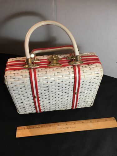1960's Vintage Wicker Red White Purse Bucket Ratta
