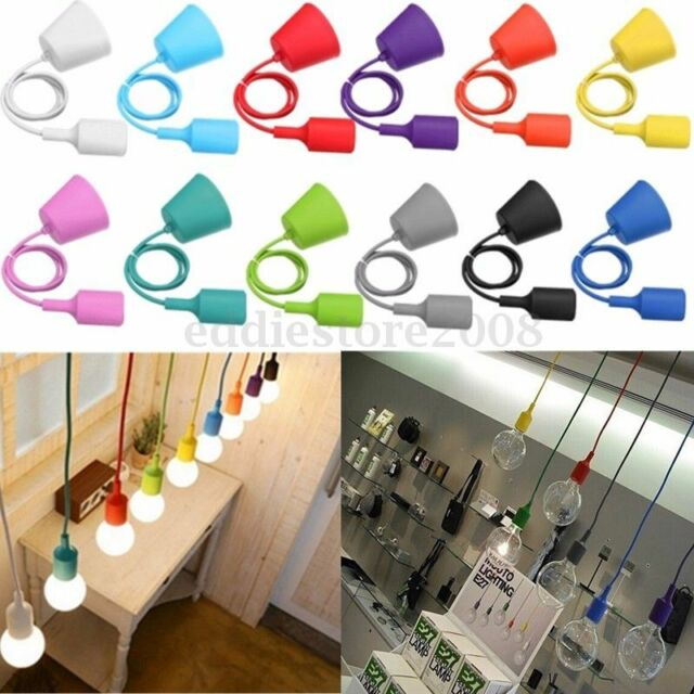 E27/E26 Colorful Silicone Ceiling Lamp Holder Light Socket Customize Rope Cord