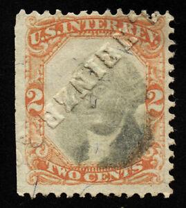 B701 U.S. Revenue Scott #R135 2c orange & black, hammered embossed cancel