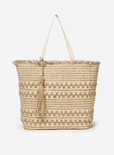 Dorothy Perkins Womens Brown Beach Shopper Bag Zip Top Closure One Handle