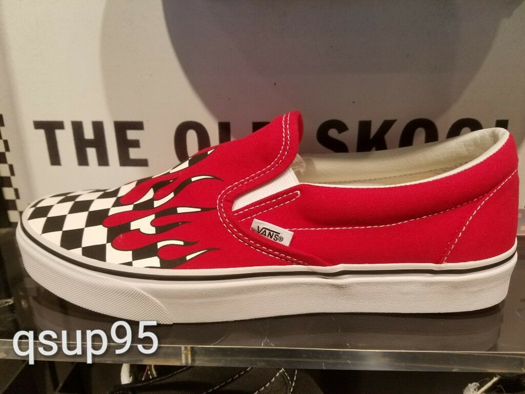 Vans Checker Flame Board Slip On Racing Red White Men Kids Checkerboard Sz 4C-13