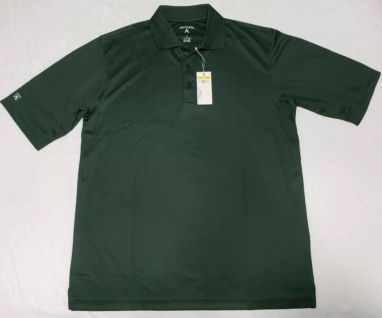 NEW ANTIGUA Exceed Dark Pine Green Desert Dry Mens Golf Polo Shirt Size S Small