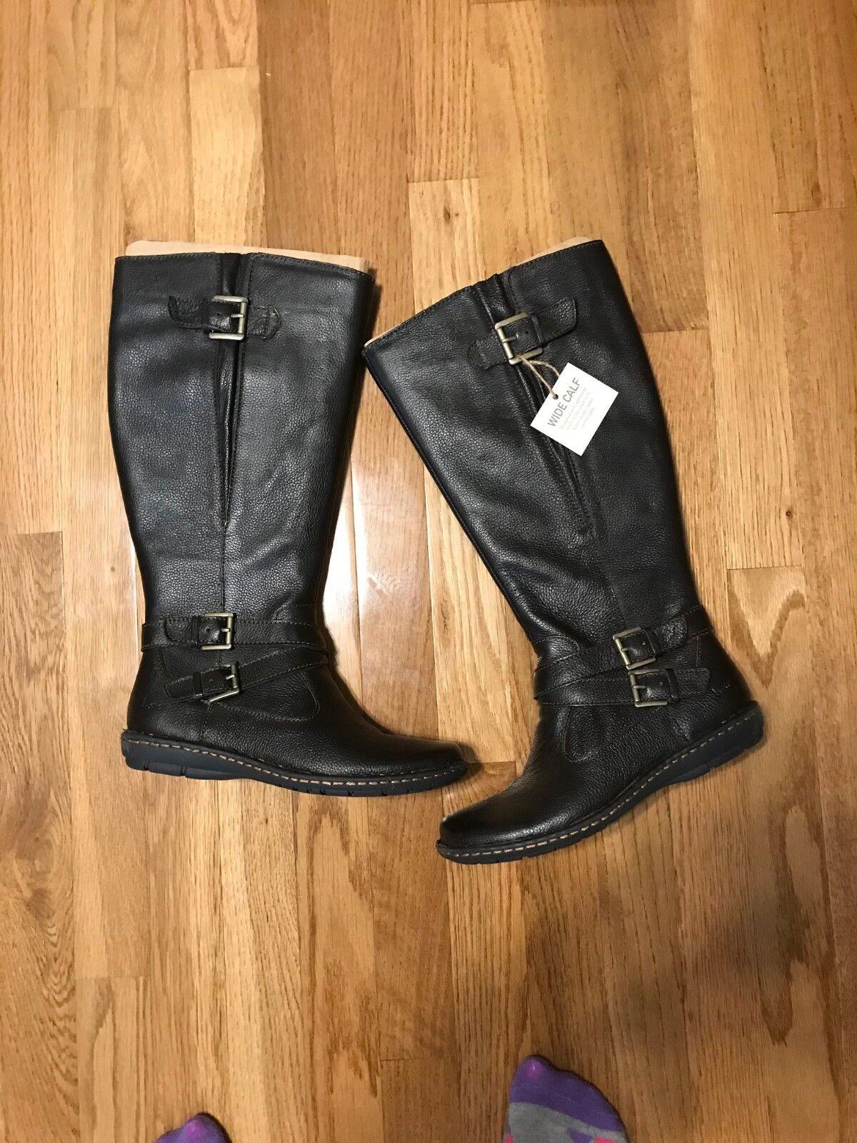 NEU 149 B.O.C Barbana Dark Braun Wide Calf Stiefel NIB