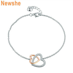 Newshe-Double-Heart-Bracelet-Chain-7-5-034-Rose-Gold-AAA-Cz-925-Sterling-Silver