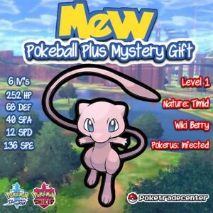 Pokemon-Sword-And-Shield-Mew-Poke-ball-Plus-Mystery-Gift-Pokerus-6iv-Mythical