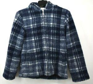 Chadwicks Men Blue White Plaid Zip Front Full Sleeve Drawcord Hoodie Jacket S