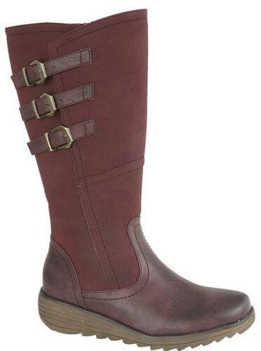 Black Grey Red Navy Brown  Size 3 4 5 6 7 8 9 LADIES Adjustable Fit Calf Boots