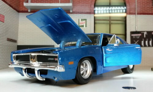 1:24 1:25 Scale Dodge Charger Blue R//T 1969 V8 Maisto Model Car 31256 LGB Metal