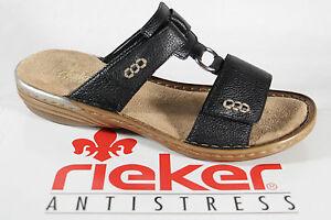 reputable site 3a9e0 b04e1 Details zu Rieker Damen Pantoletten schwarz, weiche Innensohle Leder NEU!