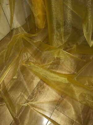 """10 MTR YELLOW GOLD ORGANZA VOILE WEDDING,CURTAIN,DECORATION DRESS FABRIC 58"""""""