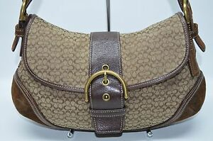 coach soho khaki brown mini signature buckle flap suede trim satchel rh ebay com
