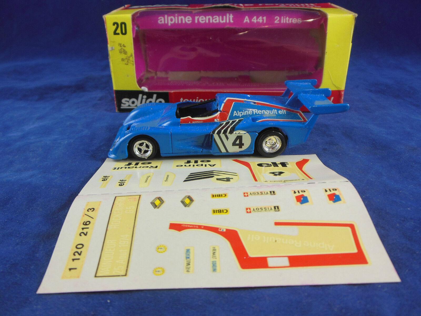 Vintage Solido No. 20 Alpine Renault A441 2 Litres in bluee racing No 4