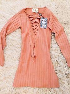 5d32328a23 NWT For Love   Lemons Knitz Simone Lace Front Blush Sweater Dress Sz ...