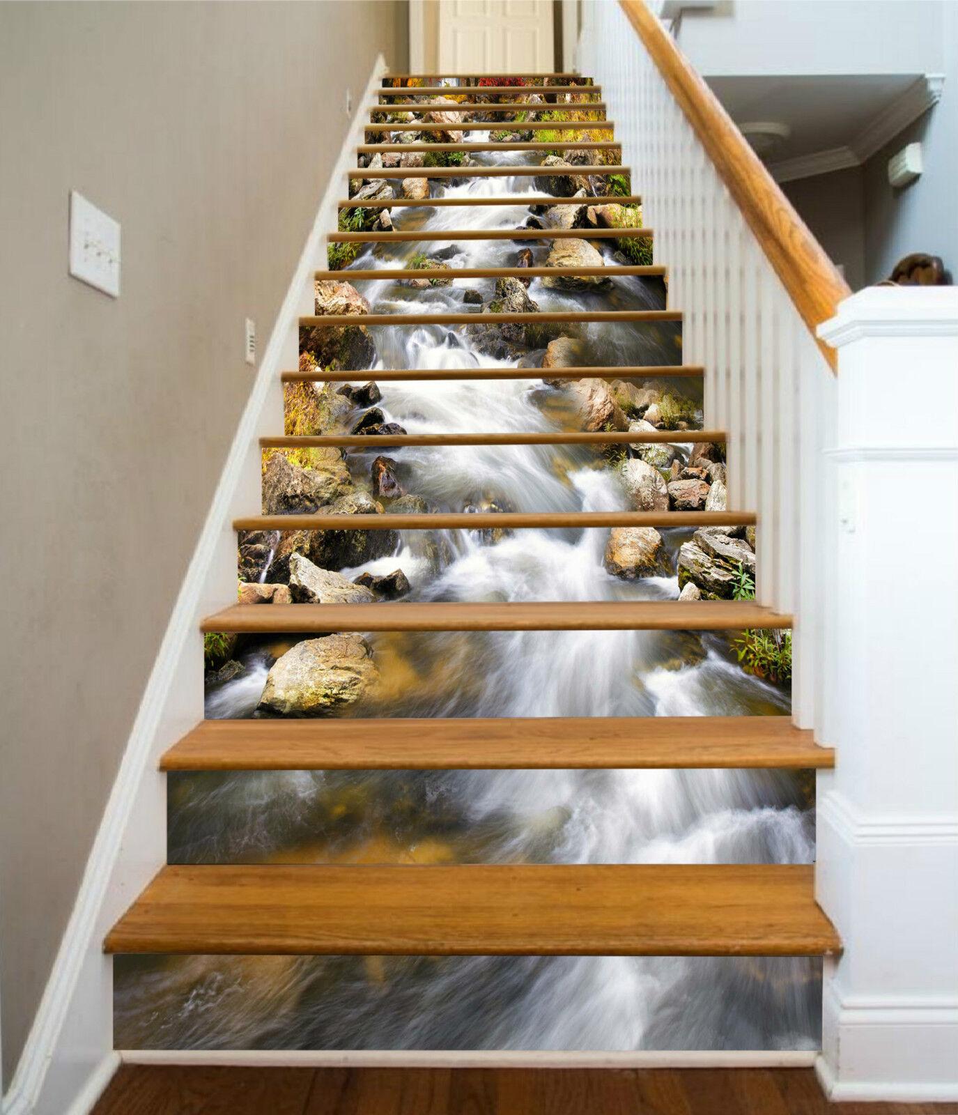 3D Fluss Stein 248 Stair Risers Dekoration Fototapete Vinyl Aufkleber Tapete DE