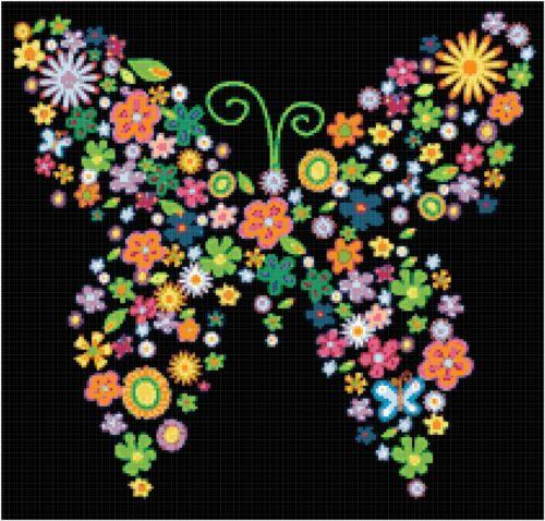 Cross Stitch Chart Pattern Flowers Butterfy Shaped