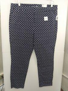Old-Navy-Navy-Blue-Print-Pixie-High-Rise-Pants-NWT-Women-039-s-sz-18-551150