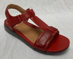 BNIB-Clarks-Unstructured-Ladies-Un-Haywood-Red-Leather-Flat-Sandals