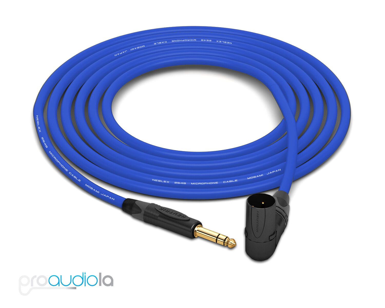 Mogami 2549 Cable   Neutrik Gold 90º XLR-Male to TRS   Blau 40 Feet 40 ft.