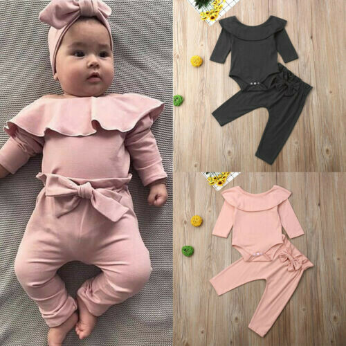 2PCS Toddler Kids Baby Girls Ruffle Tops Pants Pink Outfits Clothes Tracksuit US