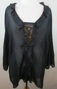 CATO-18-20W-Womens-Plus-Size-Blouse-Shirt-Top-Ruched-Beaded-Design-Boho-B1901