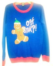 Ugly Christmas Sweater Womens Xl Gingerbread Man Oh Snap Tunic Black