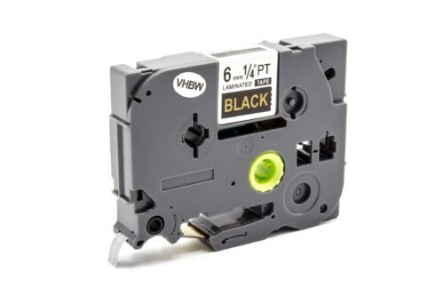 DRUCKER SCHRIFTBAND KASSETTE 6mm GOLD schwarz für BROTHER P-Touch 9600