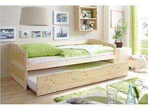 Letto singolo in legno estraibile secondo letto in legno naturale ebay - Letto in legno naturale ...