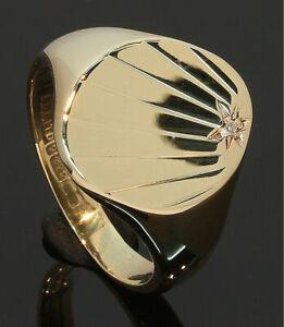 9CT-Yellow-Gold-Oval-Sunburst-Patt-Diamond-Set-Signet-Ring-Size-P-80-19-535
