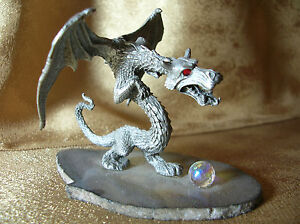 1980's Pewter Winged Dragon Figurine