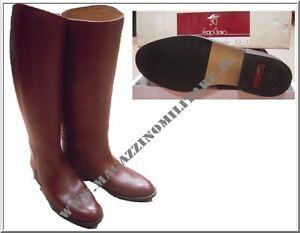 vendita ufficiale più popolare bella vista Dettagli su Stivali alti pelle IT da Ufficiale equitazione marrone Sergio  Grasso suola cuoio