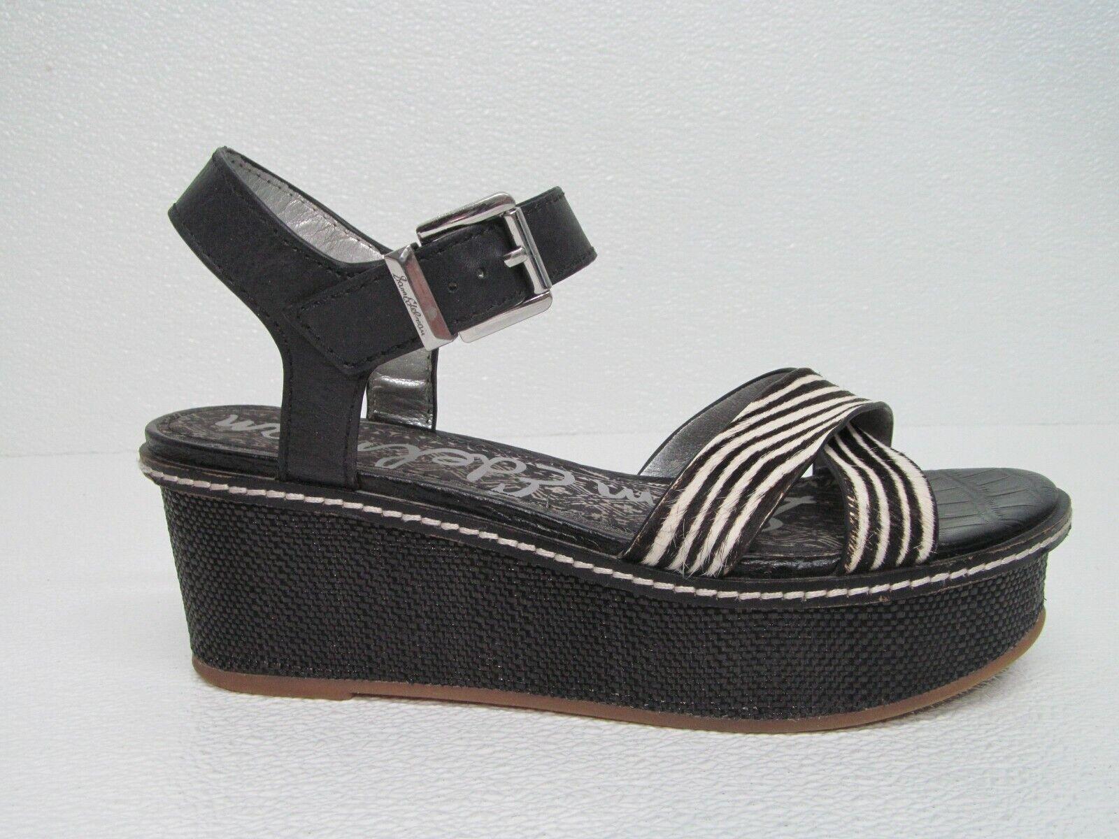 Sam Edelman Black/White Leather Calf Fur Platform Sandals Size Womens 8.5M