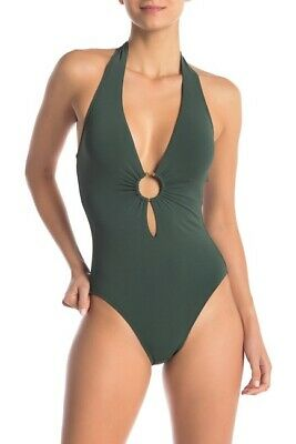 Robin Piccone Womens Luca Deep Plunge One Piece Swimsuit