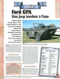 Jeep Ford GPA General Purpose Amphibian GPW 1942 USA Car Auto Retro FICHE FRANCE - France - État : Occasion: Objet ayant été utilisé. Consulter la description du vendeur pour avoir plus de détails sur les éventuelles imperfections. ... - France