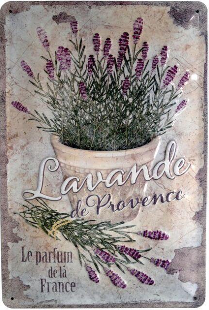 Lavendel Lavande de Provence Blechschild geprägt 20x30 Retro Metallschild 1023