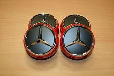 4 x orig Mercedes Benz Rad Hubs Cover Cap Cover Alloy Wheel Rim AMG Stars red
