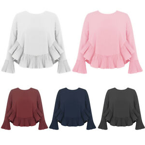 NEW-Women-Shirt-Long-PLEATED-Sleeves-amp-Hem-Loose-A-Line-Scoop-Neck-BLOUSE-UK