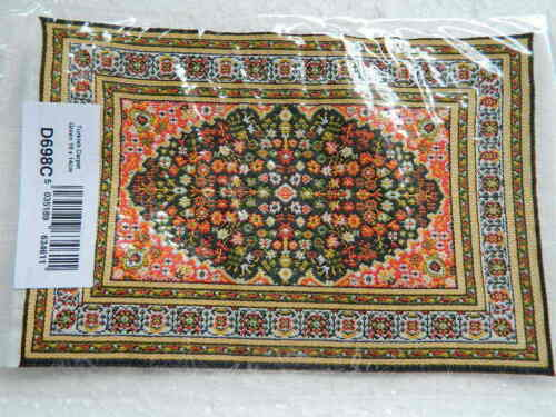 CP11 1//12th scale DOLLS HOUSE MEDIUM TURKISH STYLE GREEN PATTERNED CARPET