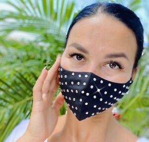 Face Mask With Rhinestones Cotton Face Covering With Filter Pocket Ebay