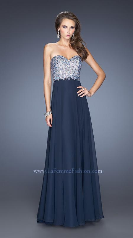 450 NWT NAVY ILLUSION LA FEMME PROM PAGEANT FORMAL DRESS GOWN SIZE 10