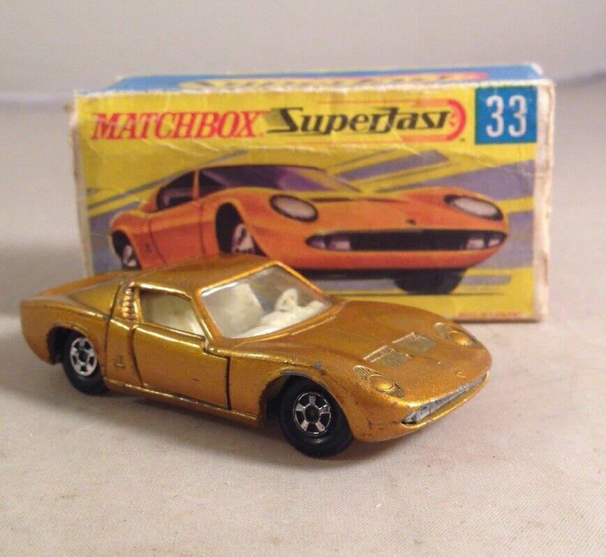 70s Matchbox Lesney Superfast 33 Gold Lamborghini Miura Nngpky1168