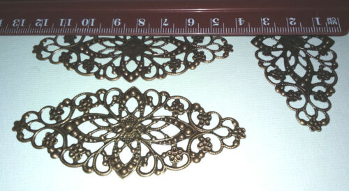 2 x 8x3.5cm Antique Rose Cuivre Grand filigrane ovales Embellissements Courbé Métal