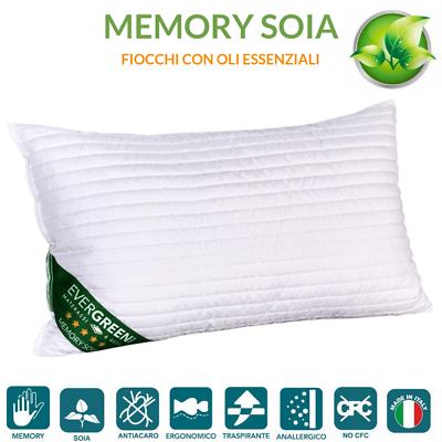 Fedele Cuscini Memory Foam E Soia Effetto Piuma D'oca Indeformabili 100% Made In Italy