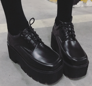 Womens-Retro-Square-Toe-High-Wedge-Platform-Muffins-Lace-Up-Club-Creepers-Shoes