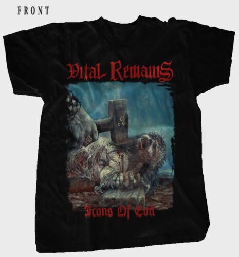 S to 7XL BLACK  T-shirt sizes VITAL REMAINS-Icons of Evil-Death metal Band