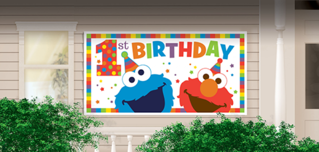 Party Supplies Sesame Street 1st First Birthday Elmo One Giant Banner