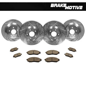 Front-Rear-Drill-Slot-Brake-Rotors-Ceramic-Pads-For-Infiniti-EX35-G35-G37-350Z